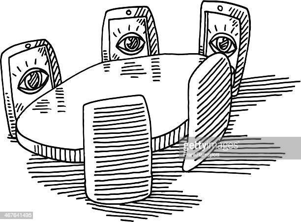 illustrations, cliparts, dessins animés et icônes de réunion virtuelle des smarpthones yeux dessin de bureau - hot desking