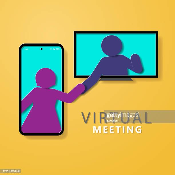 virtual meeting - two people stock illustrations