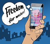 Virtual pink cartoon animal caught and behind bars locked