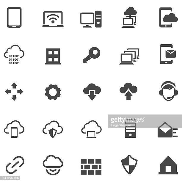 stockillustraties, clipart, cartoons en iconen met virtual private network icon set - vpn