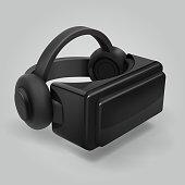 Virtual reality 3d futuristic glasses display. Vr helmet visor isolated vector illustration