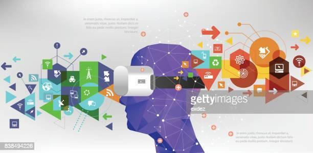 ilustrações, clipart, desenhos animados e ícones de comunicação de realidade virtual - realidade virtual