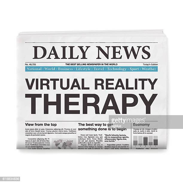 Virtual Reality for Therapy Headline. Newspaper isolated on White Background