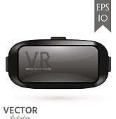 VR virtual reality glasses isolated on white background. Realistic vector illustration.
