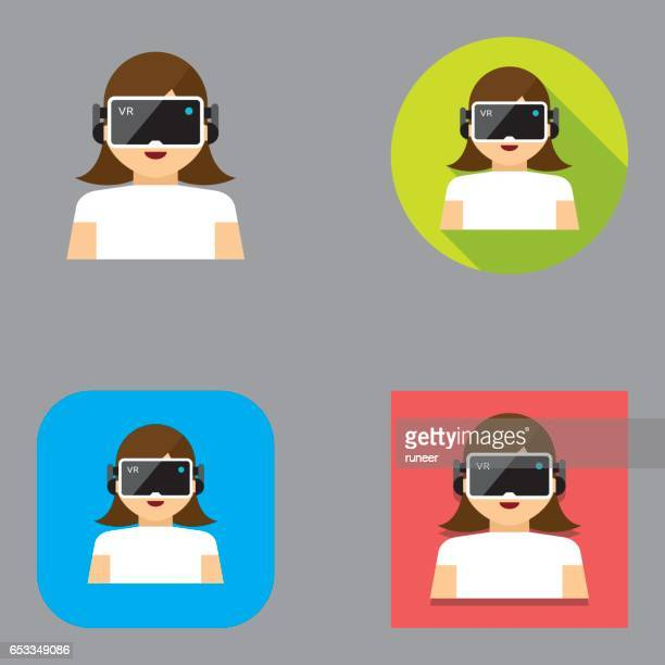 virtual reality headset icons | kalaful series - cyberspace stock illustrations, clip art, cartoons, & icons