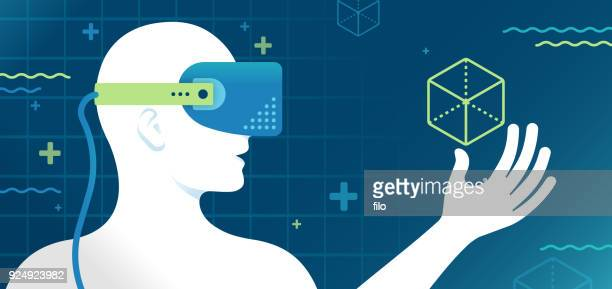 illustrazioni stock, clip art, cartoni animati e icone di tendenza di virtual reality headset - realtà virtuale