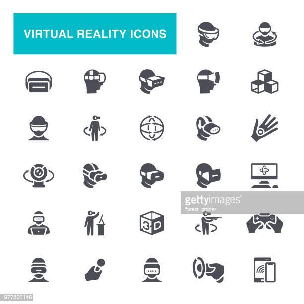 illustrazioni stock, clip art, cartoni animati e icone di tendenza di icone del casco per la realtà virtuale - realtà virtuale
