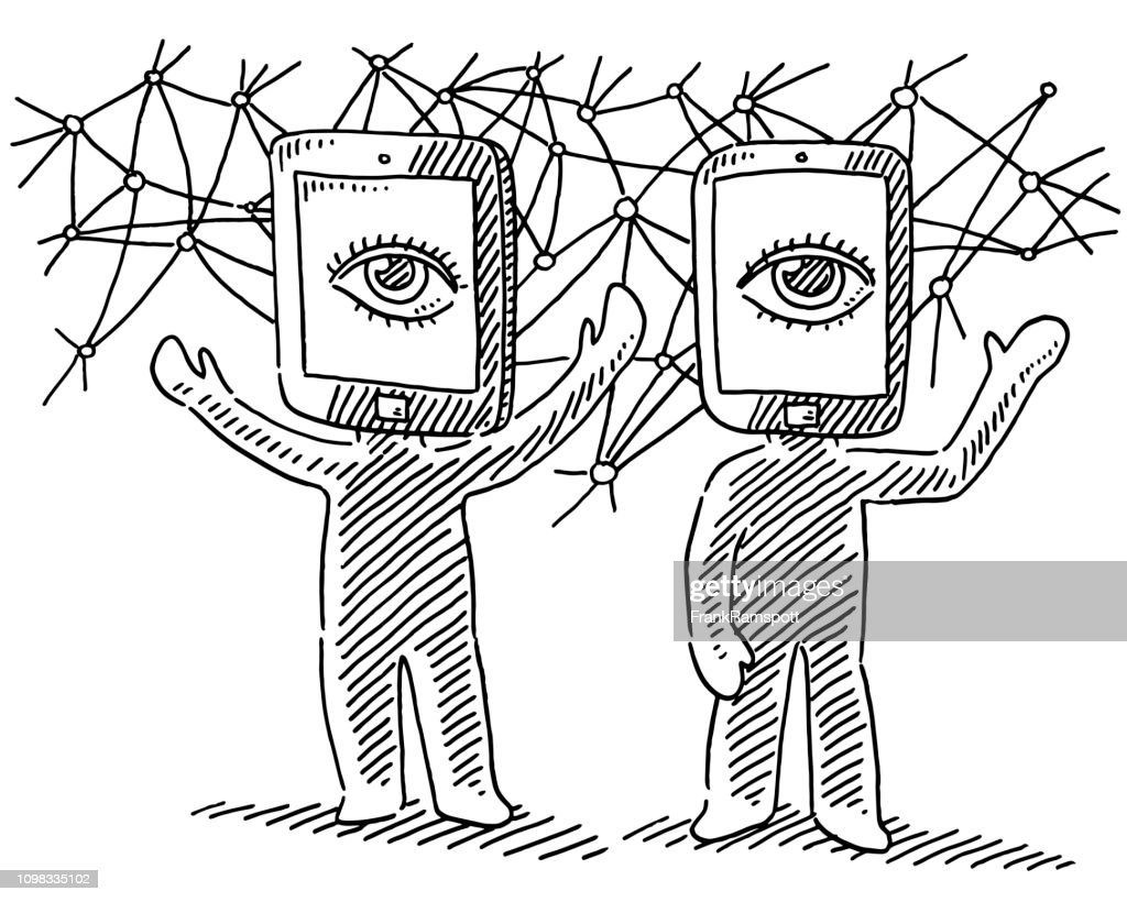 Virtual Reality Human Figures Concept Drawing : stock illustration