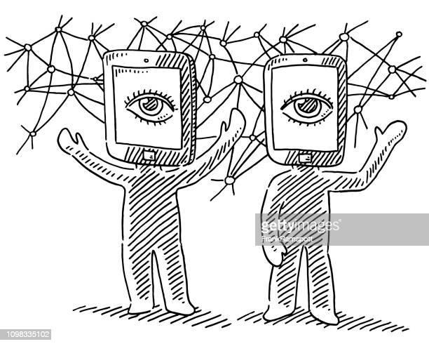 Virtuelle Realität Menschenfiguren Konzept Zeichnung