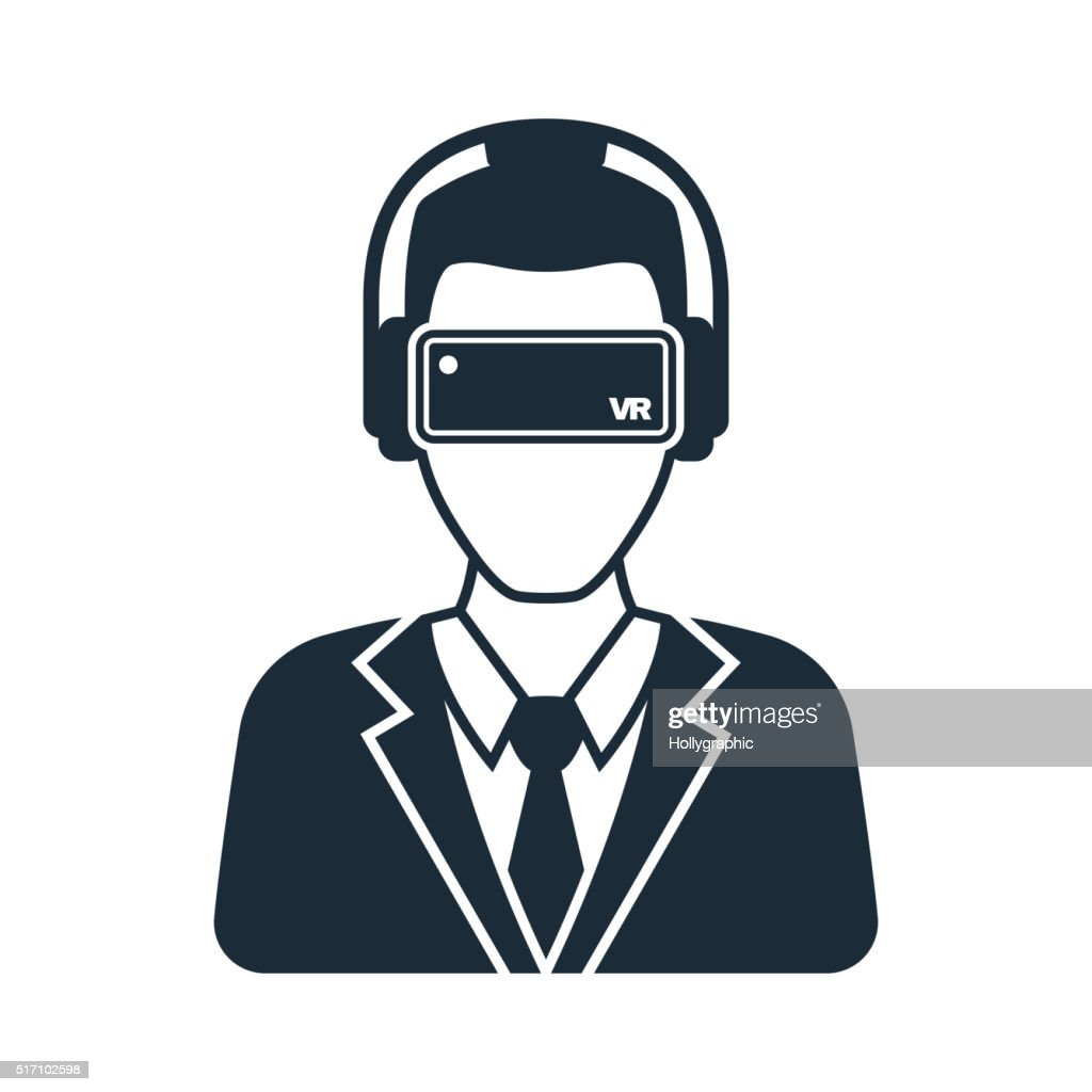 Virtual reality icon men with glasses and headset