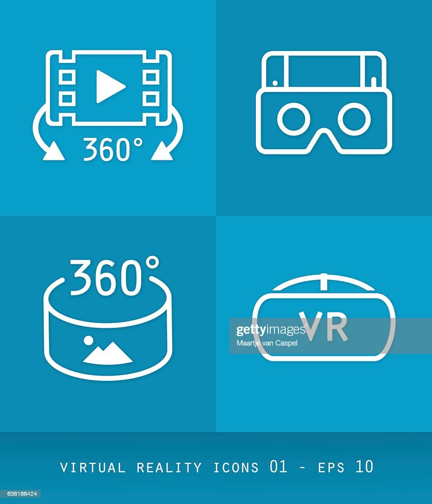 Virtual Reality Icons Set Series, Flat 2.0 Design 01