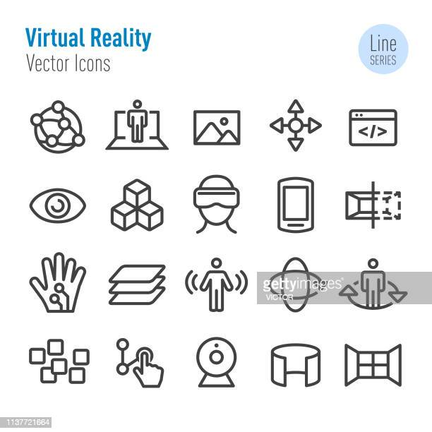 illustrazioni stock, clip art, cartoni animati e icone di tendenza di virtual reality icons set - vector line series - simulatore di realtà virtuale
