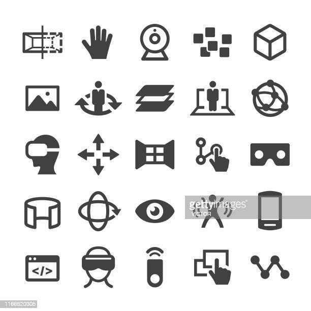 ilustraciones, imágenes clip art, dibujos animados e iconos de stock de iconos de realidad virtual - smart series - turning