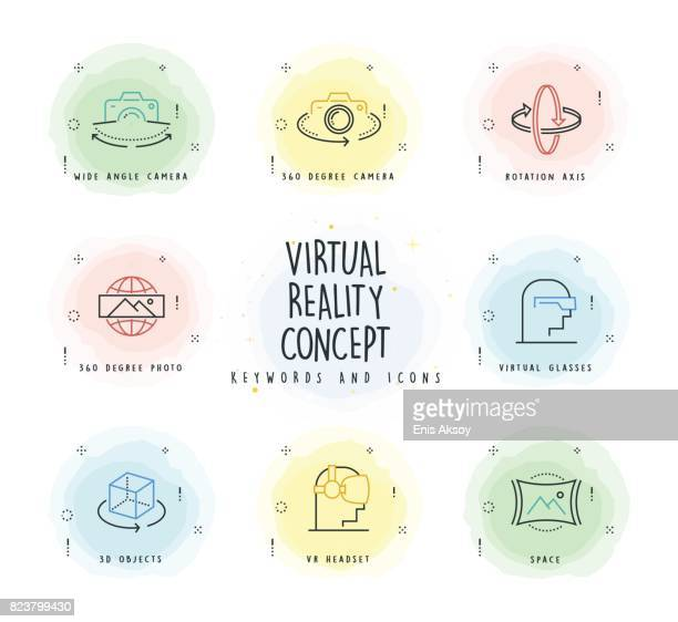 Virtual Reality Line Icon Set with Watercolor Patch