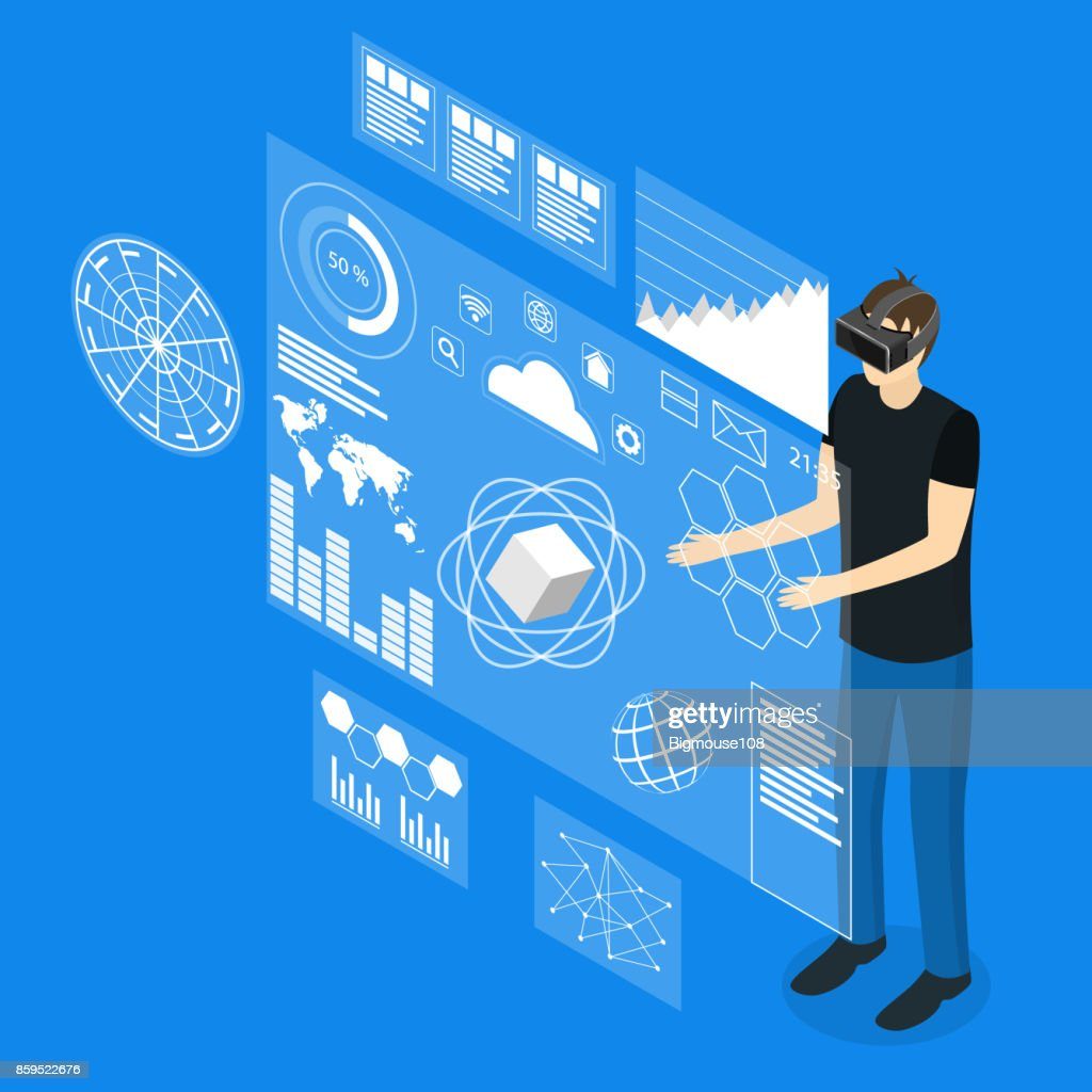 Virtual Reality Man with Futuristic Technology Display Concept Isometric View. Vector