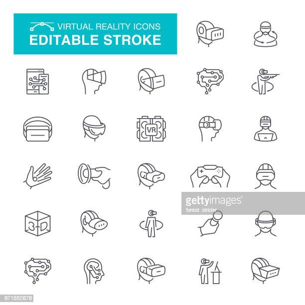 illustrazioni stock, clip art, cartoni animati e icone di tendenza di virtual reality set editable stroke icons - realtà virtuale