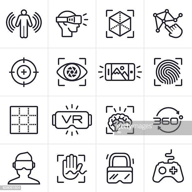 virtual reality technology icons and symbols - video camera stock illustrations, clip art, cartoons, & icons