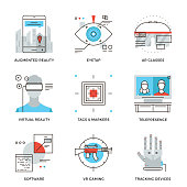 Virtual reality technology line icons set