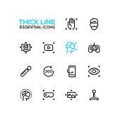 Virtual Reality - Thick Single Line Icons Set