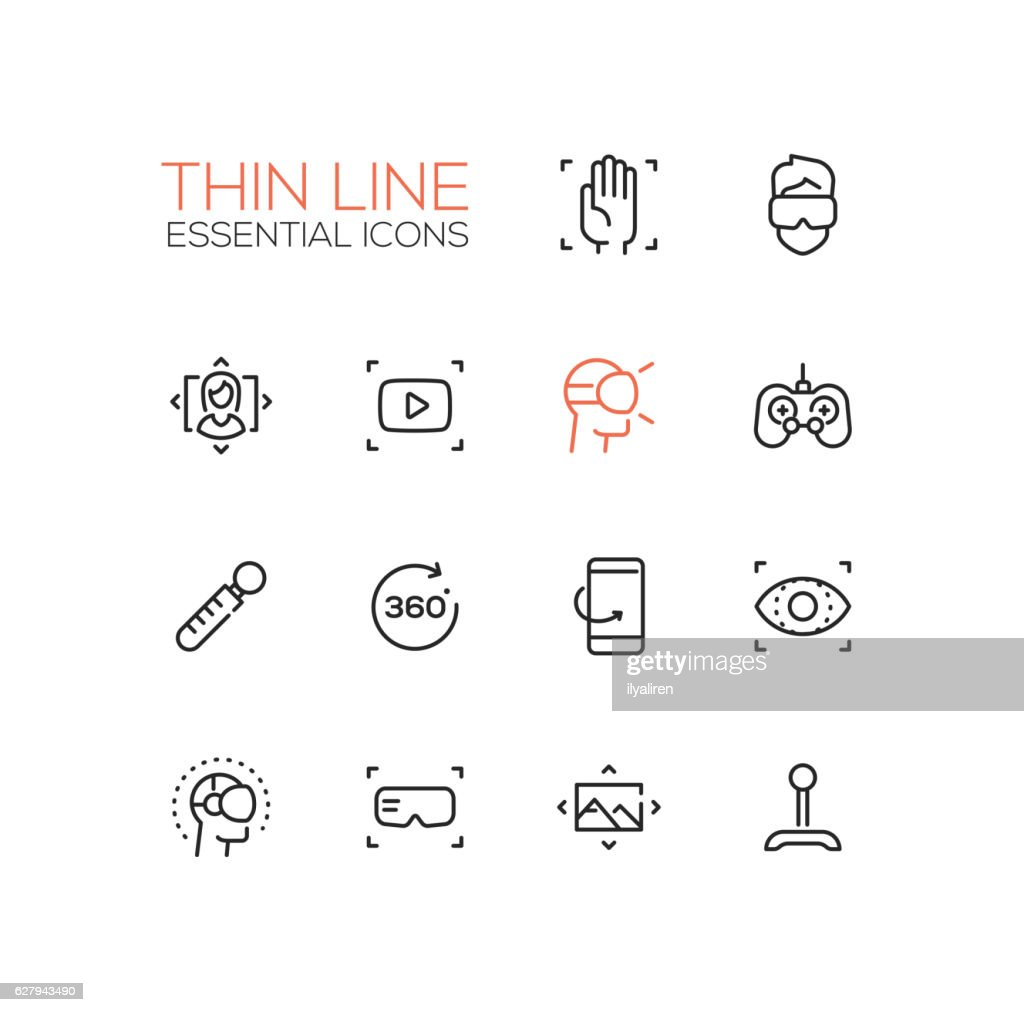 Virtual Reality - Thin Single Line Icons Set