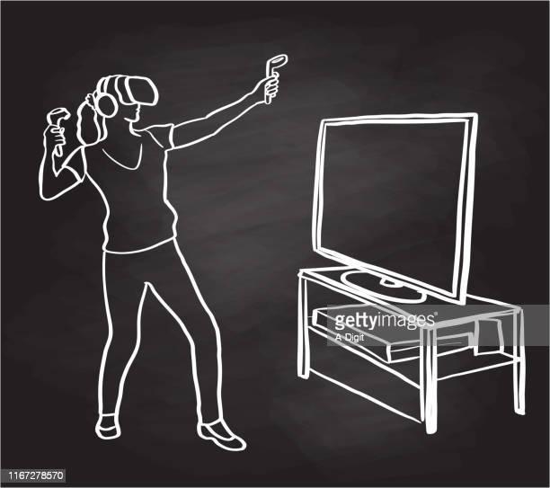 virtual reality trial chalkboard - criação digital stock illustrations