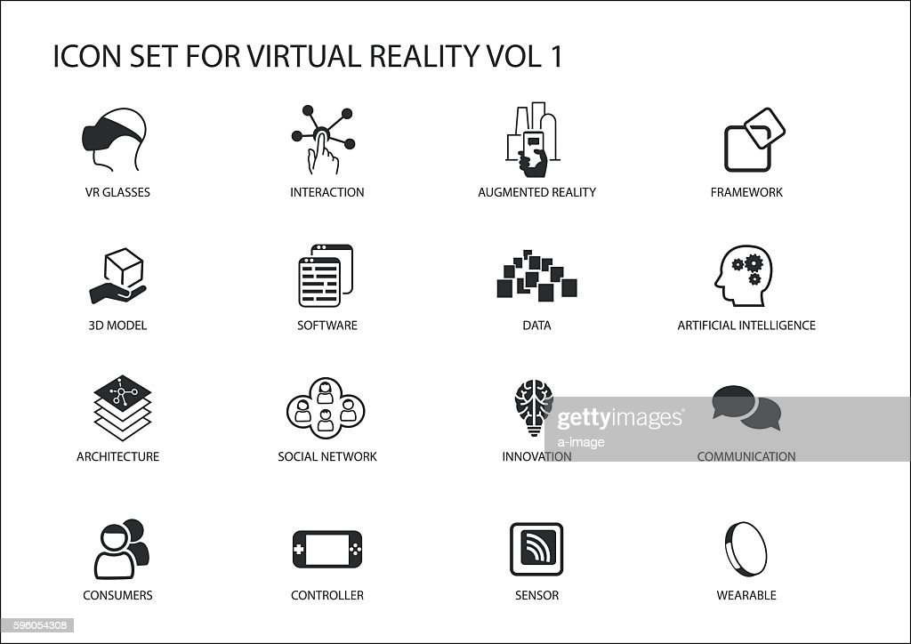 Virtual Reality (VR) vector icon set. Multiple symbols