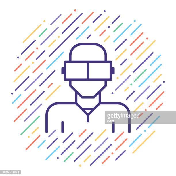ilustrações, clipart, desenhos animados e ícones de realidade virtual vetor linha icon ilustração - realidade virtual