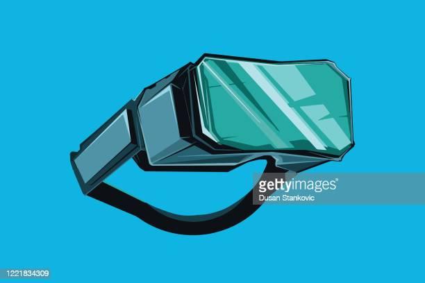 ilustraciones, imágenes clip art, dibujos animados e iconos de stock de auriculares vr de realidad virtual - simulador de realidad virtual