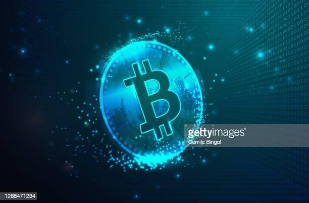 バイナリコードデジタル背景を持つビットコインの仮想シンボル - 仮想通貨点のイラスト素材/クリップアート素材/マンガ素材/アイコン素材