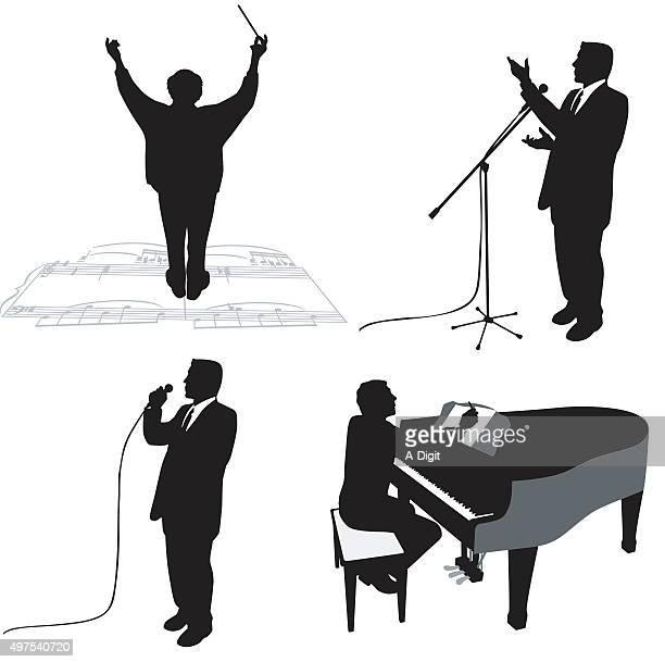 ilustraciones, imágenes clip art, dibujos animados e iconos de stock de virtuosos de la - director de orquesta