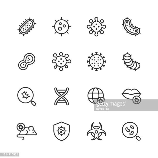 ilustrações, clipart, desenhos animados e ícones de ícones da linha de vírus e bactérias. curso editável. pixel perfeito. para mobile e web. contém ícones como bactéria, infecção, doença, vírus, celular, gripe, pesquisa, pandemia, boca. - infectious disease