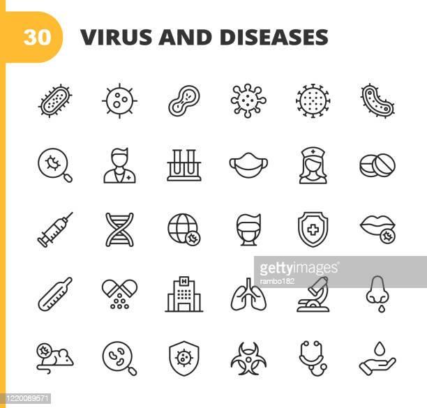 stockillustraties, clipart, cartoons en iconen met virus en ziekte lijn iconen. bewerkbare slag. pixel perfect. voor mobiel en web. bevat pictogrammen zoals bacterie, infectie, ziekte, virus, cel, griep, onderzoek, pandemia, mond, coronavirus, quarantaine, ziekenhuis, gezichtsmasker, long. - besmettelijke ziekte
