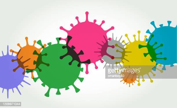 stockillustraties, clipart, cartoons en iconen met viruscelachtergrond - covid 19