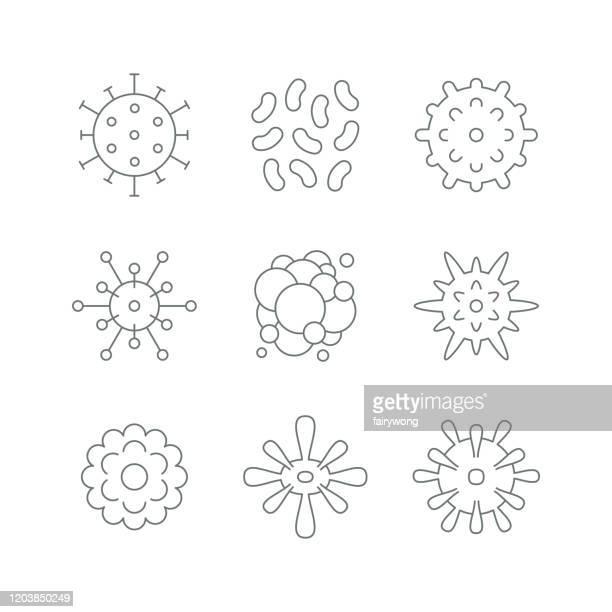 ilustrações de stock, clip art, desenhos animados e ícones de virus cell icons - optical art