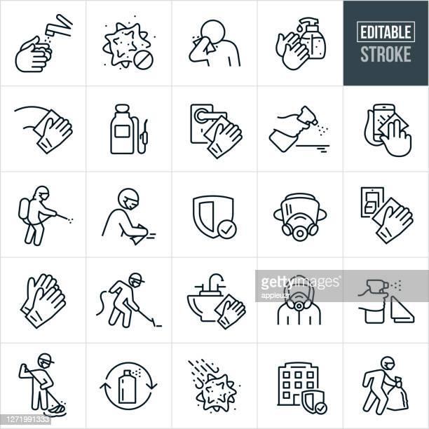 ウイルスのディセンフェクションと除染細線アイコン - 編集可能なストローク - 保護用手袋点のイラスト素材/クリップアート素材/マンガ素材/アイコン素材