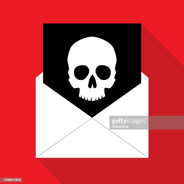 virus email icon - malfarbe stock illustrations