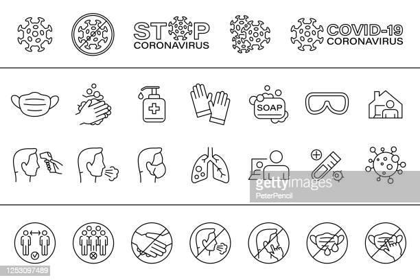 stockillustraties, clipart, cartoons en iconen met virus - pictogram set en verboden borden. coronavirus vectorillustratie - prevention