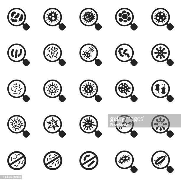 virus icon set - bacterium stock illustrations