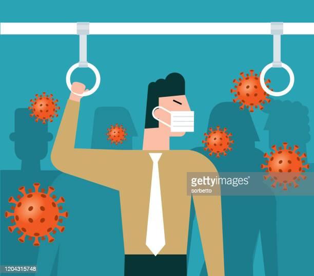 ilustraciones, imágenes clip art, dibujos animados e iconos de stock de virus en el metro - empresario - cuarentena