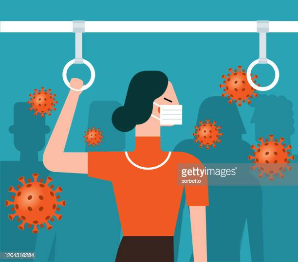 virus in the subway - businesswoman - coughing stock illustrations