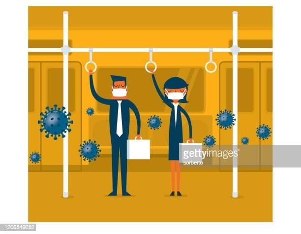 ilustraciones, imágenes clip art, dibujos animados e iconos de stock de virus en el metro - cuarentena