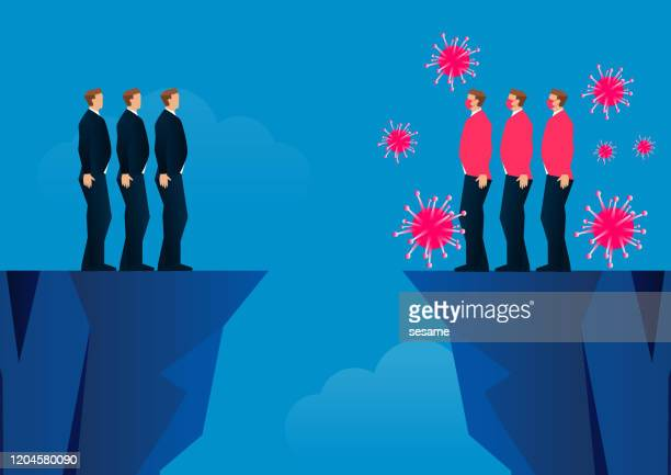 virus infected and uninfected separated by two mountains - blocking sports activity stock illustrations