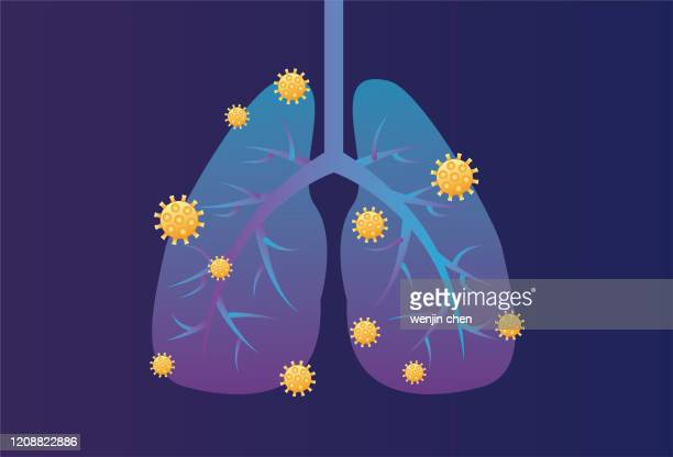 virus infects lungs stock illustration - asthmatic stock illustrations