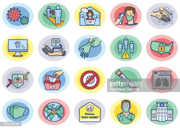 illustrations, cliparts, dessins animés et icônes de ensemble d'icônes de prévention des virus 02 - confinement clip art
