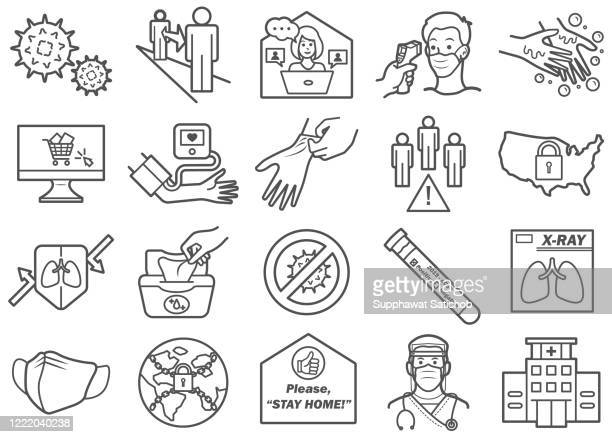 virus prevention 02 line icons set - image technique stock illustrations