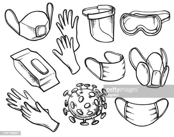 ウイルスの防止と保護 - 手術用グローブ点のイラスト素材/クリップアート素材/マンガ素材/アイコン素材