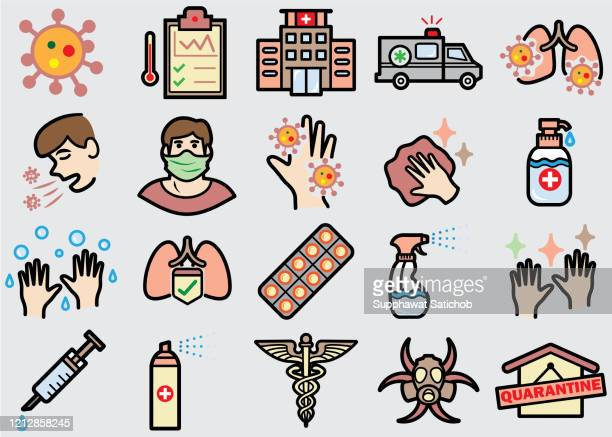 virus prevention color icons set - coughing stock illustrations