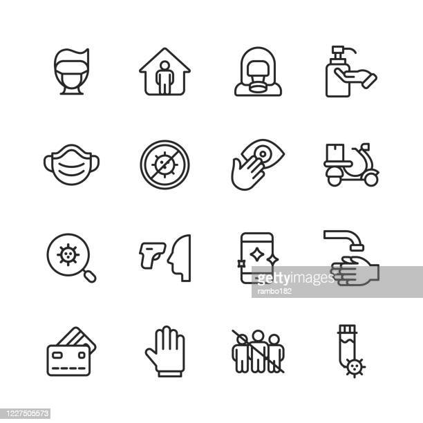 virus prevention line icons. editable stroke. pixel perfect. for mobile and web. contains such icons as pandemic, social distancing, hand sanitizer, travel ban, illness, antiviral drug, lockdown, audience-free event, thermometer, n95 face mask. - avoidance stock illustrations