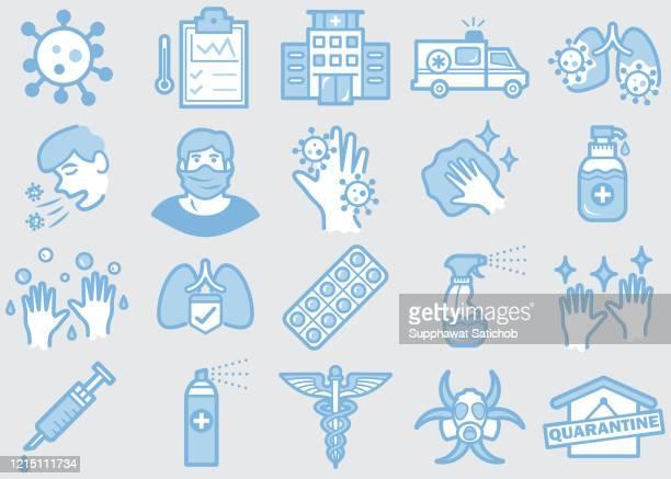 virus prevention line icons set 03 - prevention stock illustrations