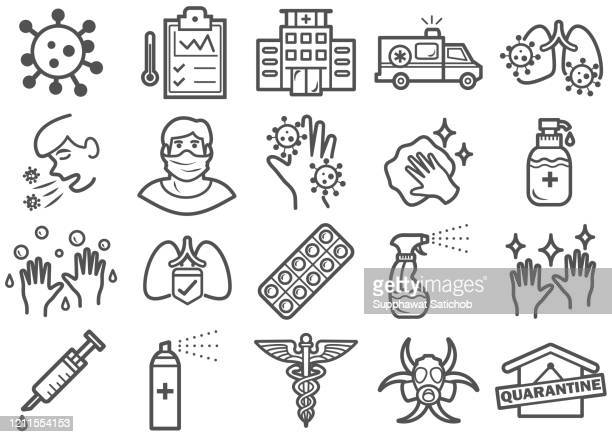 virus prevention line icons set - coronavirus stock illustrations